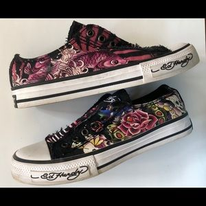 Ed Hardy slip on sneakers.